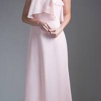 Ruffled Bodice Long Bridesmaids Dress Spaghetti Strap Blush