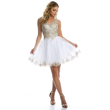 Lace Applique Bodice White Homecoming Short Dress