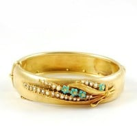 Lily of the Valley /Antique Pearl and Turquoise Bangle / Metier.com