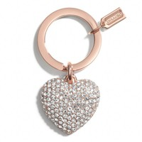 PAVE ROSE GOLD HEART KEY RING
