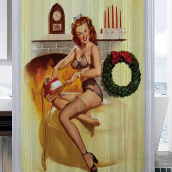 Pin up pinup pin-up sexy retro girl Christmas fireplace shower curtain