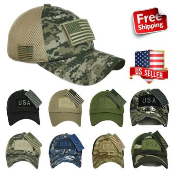 US American USA Flag Patch Baseball Cap Trucker Army Tactical Operator CAMO Hat