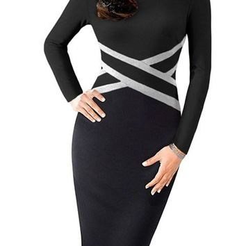 Work Black Contrast Waist Long Sleeve Sheath Dress
