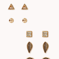 FOREVER 21 Vintage-Inspired Stud Set Antic Gold/Clear One