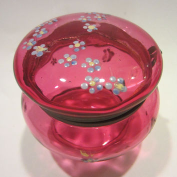 Moser Style Glass Jewelry Powder Box Hand Decorated Floral Enameling