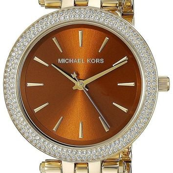DCCKWA2 Michael Kors Women's Goldtone Mini Darci Watch With An Amber Dial
