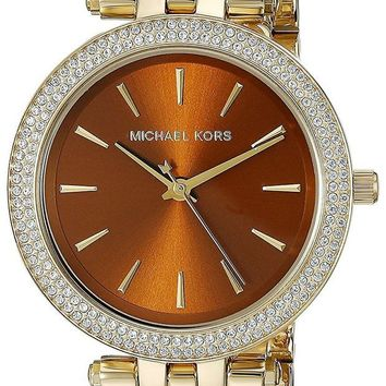 DCCK2JE Michael Kors Women's Goldtone Mini Darci Watch With An Amber Dial