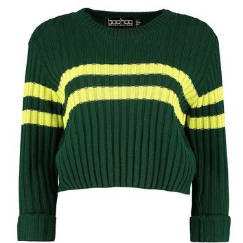 Sophie Sports Stripe Rib Knit Jumper | Boohoo