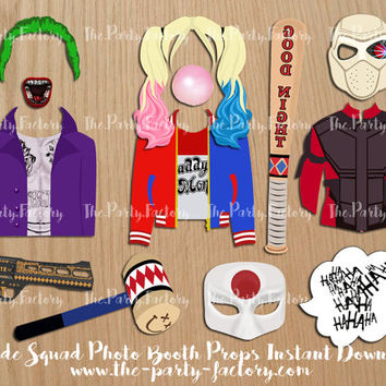 Suicide Squad Party Theme Photo Booth Props Instant download, Digital Download Photo Booth Props