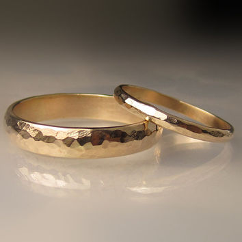 Gold Wedding Band Set, Recycled 10k Yellow Gold, 4mm and 2mm Hammered Half Round, Made to Order