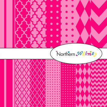 Digital Scrapbooking Set –  Bright and Pastel Pink paper in stripes, chevron, polka dot, stripe, harlequin, and quatrefoil  INSTANT DOWNLOAD