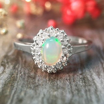 Opal and Diamond Halo Solid 14K White Gold (14KW) Affordable Color Stone Ring *Fine Jewelry* (Free Shipping)