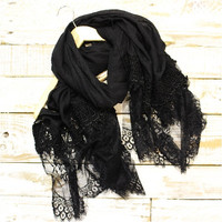Lace Scarf, Scarves, long, Black lace | SC3