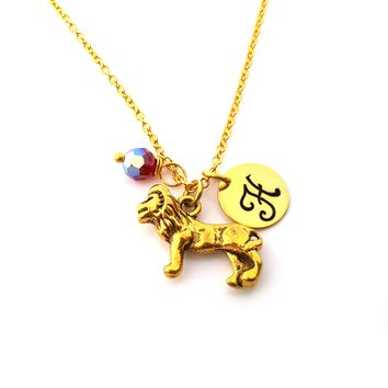 Gold Lion Charm Personalized Birthstone Necklace