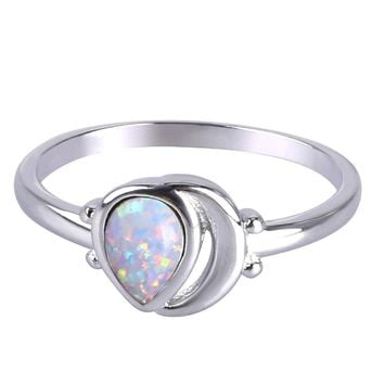 KELITCH Teardrop Created Opal Multistone Rings Inlay Moon Silver Plated Band Rings Dainty Women Gifts