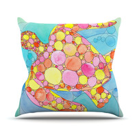 "Catherine Holcombe ""Circle Turtle"" Yellow Orange Outdoor Throw Pillow"