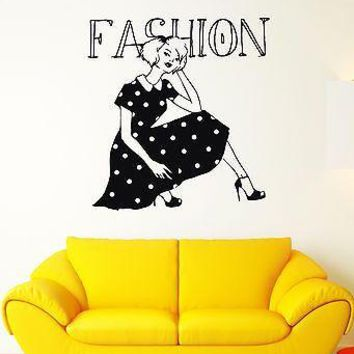 Wall Decal Fashion Sexy Girl Gown Beauty Shoes Model Vinyl Stickers Unique Gift (ed113)