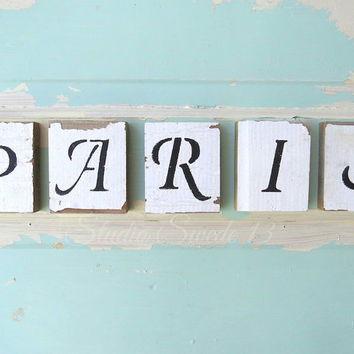 Word Art, Shabby Chic Photography, Still Life, Paris Photography, Rustic Photography, Letters, Aqua Art, Paris Letters, Whimsical Art