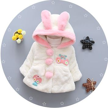 Baby Parka Plus Thick Baby Girls Cute Ears Snow Wear Infant Girls Outerwear Coat Single-breasted Toddler Girls Clothing HW1519
