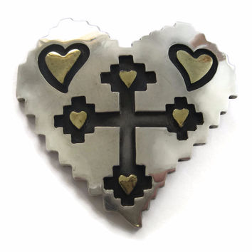 Large Vintage Mexican Sterling Heart Cross Pendant