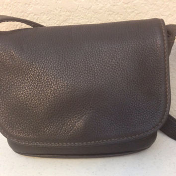 Dark Brown Leather Coach Cross Body Handbag