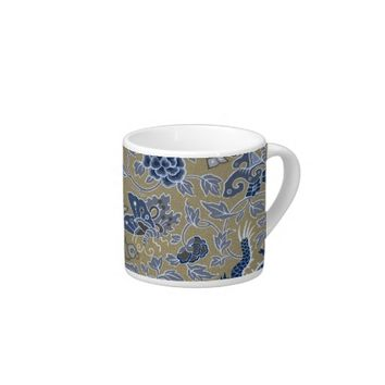 Dragons, Flowers, Butterflies - Blue on Dull Gold Espresso Cup