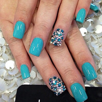 Aqua Blue, Blue and clear Swarovski crystals false nails