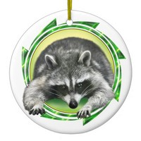 Raccoon Face Ceramic Ornament