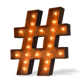 "12"" Hashtag ""#"" Vintage Marquee Lights Sign (Rustic)"