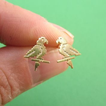 Pixel Parrot Bird Shaped Allergy Free Stud Earrings in Gold
