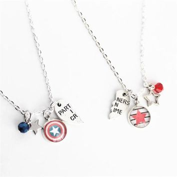 6pair/lot Bucky and Steve BFF Necklace Set Marvel Comic Steve Rogers Bucky Partners in Crime Best Friend Jewelry