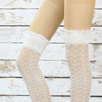 Soft Micro Fishnet Knee Highs Brown lace socks sexy leg warmer girly boot socks boot cuffs women's accessory birthday gifts knee socks