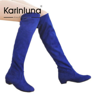 Plus Size 34-43 New Arrival Over The Knee High Boots Women Shoes Solid Casual Concise Fashion Shoes Round Toe Boots