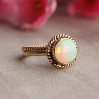 18K Gold Opal ring - Opal Ring - Engagement ring - Wedding ring - Artisan ring - October birthstone - Bezel ring - Valentines gift idea