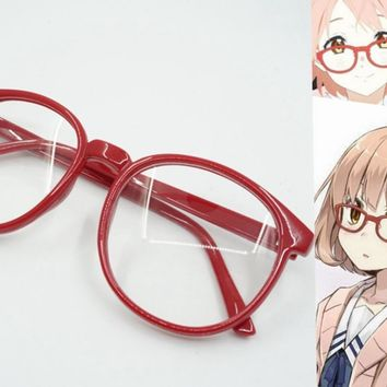 Hot anime Kyokai no kanata red round frame glasses Kuriyama Mirai cosplay red frame lovely kawaii big round frame glasses CS55
