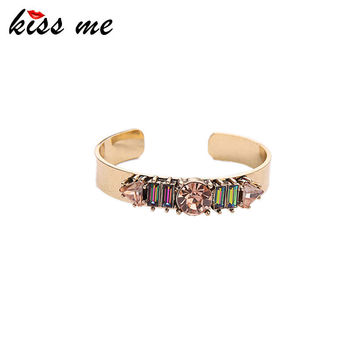 KISS ME Brand Jewelry Copper Cuff Bracelets New Design Geometric Crystal Bangle for Women Gift 2016