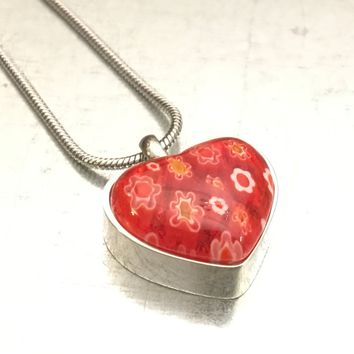 Heart Urn, Cremation Necklace, Millefiori Glass Heart Urn, Red Urn, Ash Holder Necklace, Cremation Locket, Memory Locket, Cremation Jewelry