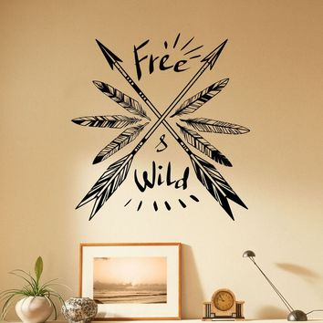 Arrows and Feathers Wall Vinyl Decal Free and Wild Sticker Native Americans Home Art Deco Made in US