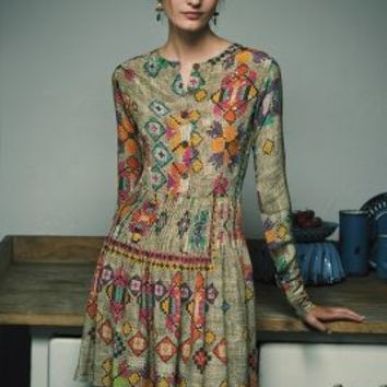 Pintucked Prima Dress by Hemant & Nandita Green Motif