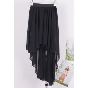 Solid Color Elastic Waist High-Low Chiffon Skirt