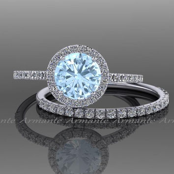 Aquamarine Engagement Set, 14k White Gold White Sapphire And Aquamarine Wedding Set Re00074waq