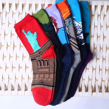Women's Socks Mural Art Casual Socks Men Graffiti Unisex Socks Paintings Sock -Y107