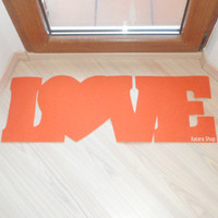 Love doormat with heart. Lovely home decor. Personalized rug. Welcome mat.