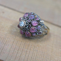 Antique Vintage 14KT Yellow Gold Cabochon Pink Sapphire Domed Ornate Statement Ring Size 5.25