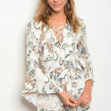 Bell Sleeve Paisley Lace Up Romper