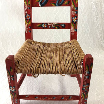 Vintage Child's Red Folk Art Chair, Painted Flowers, Rush Seat