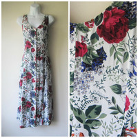 90s White & Red Roses Floral Dress, A-Line Flowing Button-Up, Alternative Riot Grrrl Grunge Kinderwhore Princess Fashion