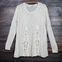knitted boho sweater - ivory