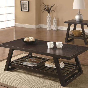 Transitional Style Coffee Table With Open Bottom Shelf And Flared Legs, Brown - 701868