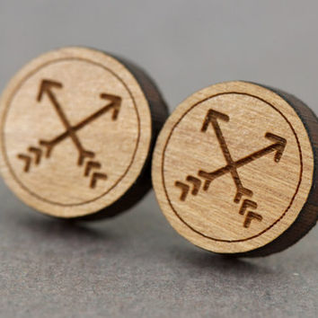 Fake Plugs Stud Earrings : Cherry Wood Earrings, Arrows, Hipster, Cross, Round, 12mm